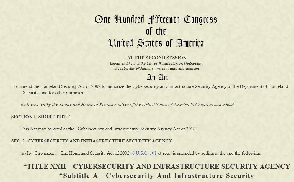 cybersecurity infrastructure security agency act